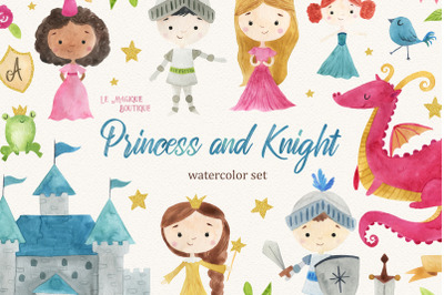 Princess & Knight Watercolor Clipart Set