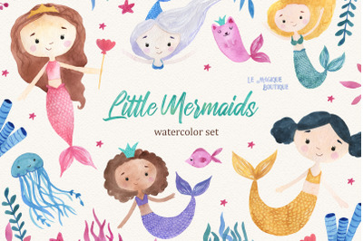 Little Mermaids Watercolor Clipart Set