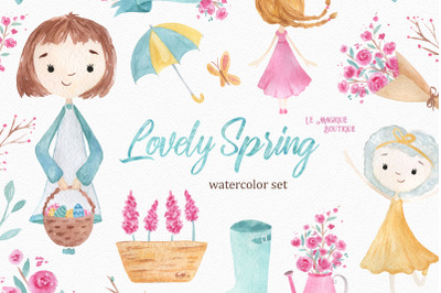 Lovely Spring Watercolor Clipart Set