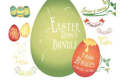 20 Designs Bundle. Easter Images Theme with Eggs, Rabbit and Banners.