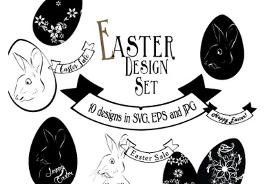 Easter Design Bundle. 10 Images in SVG, EPS and JPG