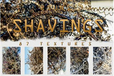 87 silver spirals of metal shavings textures