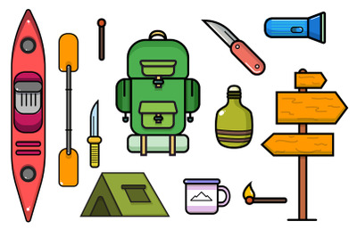 Camping and kayaking elements collection