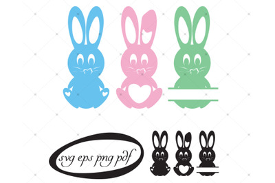 Bunny with heart shapes, copy space in color and  black.