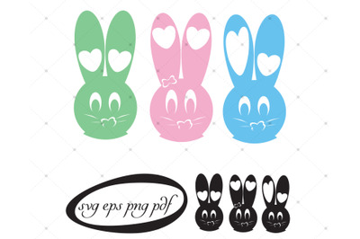 Bunny face with heart shapes, copy space in color and black.