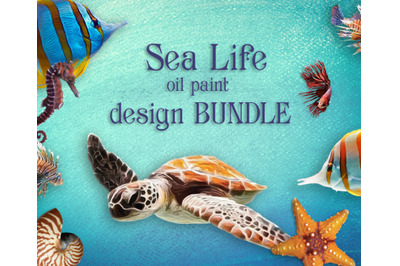 Sea life design bundle. Sea turtle,  seashell, starfish