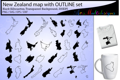 New zealand provinces / new zealand map / new zealand outline map