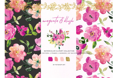 Watercolor Magenta and Blush Floral Bouquet Clipart