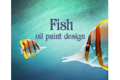 Colorful sea fish oil paint design.