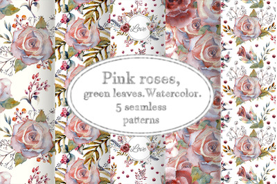Pink rose. Watercolor. Seamless patterns.