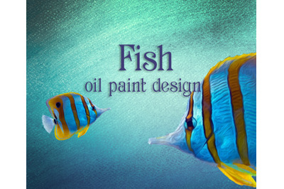 Colorful blue little fish in oil paint style design