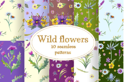 Wild flowers watercolor.  Seamless patterns
