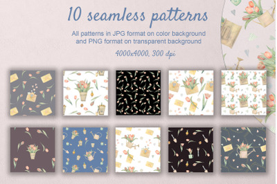 Spring Tulip. Set of 10 watercolor seamless patterns