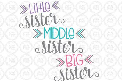 Little Middle Big Sister - Cutting File in SVG, EPS, PNG and JPEG For Cricut & Silhouette