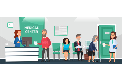 Clinic reception. Hospital patients, doctor waiting room and people wa