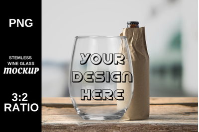 Wine Glass Stemless Mockup High Resolution - PNG