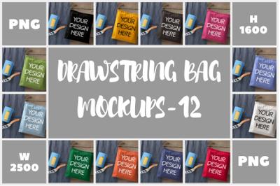 Drawstring Small Bag Mockups - 12