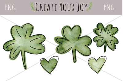 Watercolor Shamrocks & Hearts | PNG