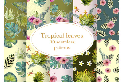 Tropical leaves. Seamless patterns