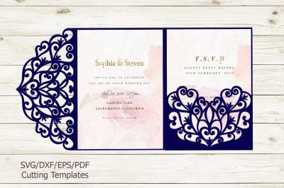 Trifold wedding invitation svg dxf pdf laser cut cricut file