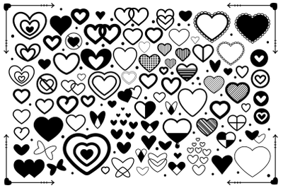 Simple Doodle Heart Graphic Set