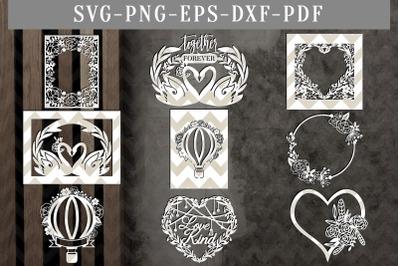 Bundle Of 9 Happy Floral Wedding Papercut Templates, Wedding Decor