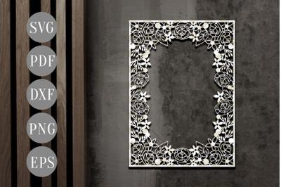 Floral Potrait Photo Frame Papercut Template, Flower SVG, PDF, DXF