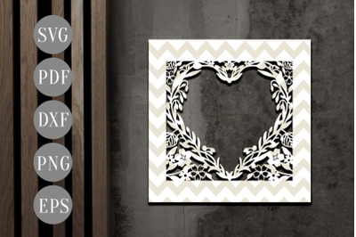 Floral Heart Photo Frame Papercut Template, Flower SVG, PDF, DXF