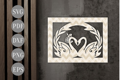 Customizable Swan Couple Papercut Template, Wedding Card SVG, PDF, DXF