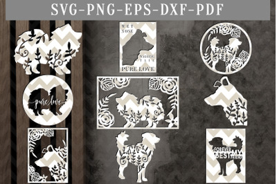 Bundle Of 9 Dog Papercut Templates, Dog Lover Cut File, SVG