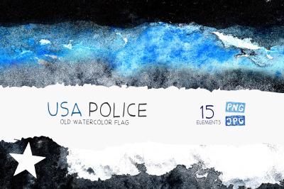 Police flag USA. Watercolor.