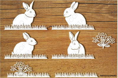 Bunny, Bunnies and Grass SVG files for Silhouette Cameo and Cricut.