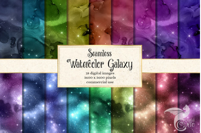 Seamless Watercolor Galaxy Textures