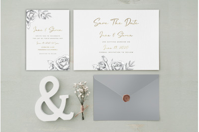 Grey Gold Wedding Invitation Suite