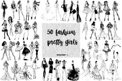 50 fashion pretty girls illustration