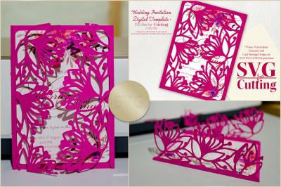 Wedding Invitation - SVG Cut File - Floral Design 04