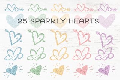 25 Pastel Rainbow Glitter Hearts