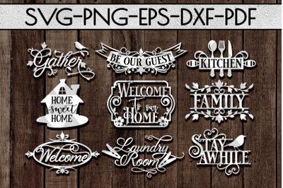 Home Decor Sign Papercut Templates Bundle, Rustic SVG, DXF