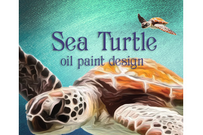 Sea Turtle Oil Paint Illustration
