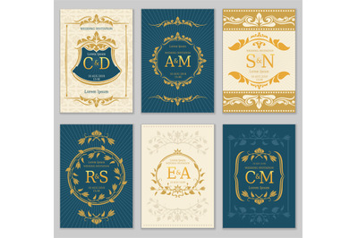 Luxury vintage wedding invitation vector cards with logo monograms and