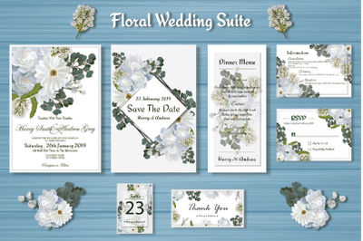 White Floral Wedding Invitation Suite