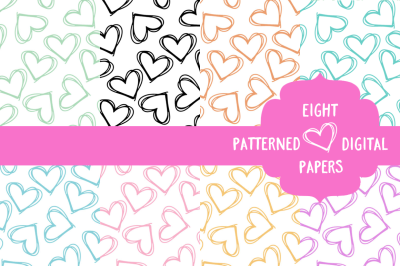 Eight Seamless Patterned Digital Papers