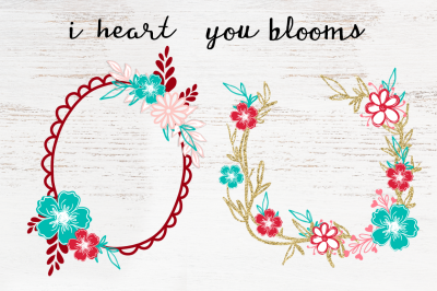 i heart you blooms graphic collection