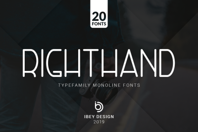 RightHand - 20 Monoline Fonts