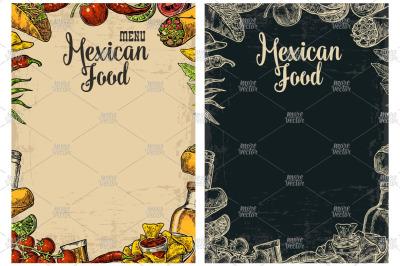 Mexican food restaurant menu engrave