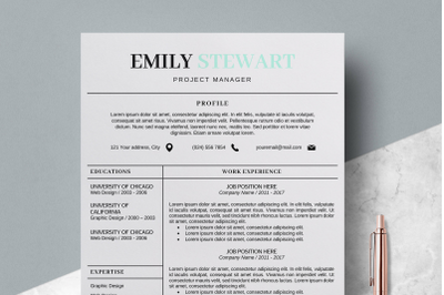 Resume Word Template / CV Template - Emily