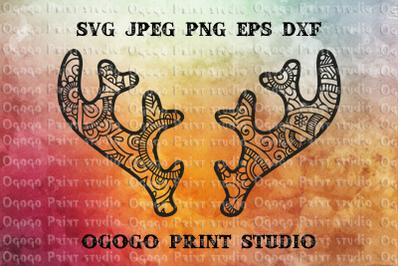 Antlers SVG, Deer SVG, Winter SVG, Christmas SVG, Zentangle