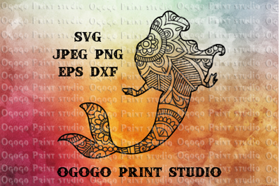 Mermaid SVG, Mandala svg, Zentangle SVG, Cricut cut file