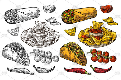 Mexican traditional food set engraving