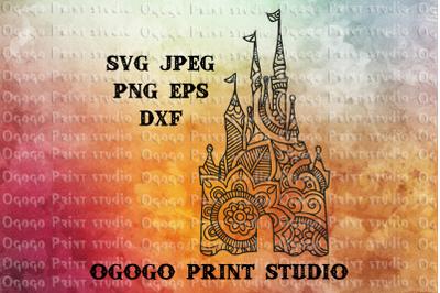 Castle svg, Zentangle SVG, Mandala svg, Cricut cut file